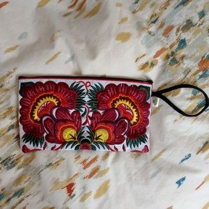 Handbags - Embroidered Clutch/Wristlet